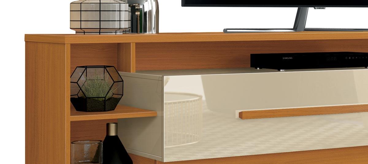 Rack para TV Império Cedro Natural com Off White 2.1 - EDN Móveis