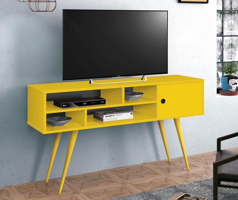 Rack para TV Kenzo Amarelo - Edn Móveis  - MoveisAqui - Loja de móveis online!