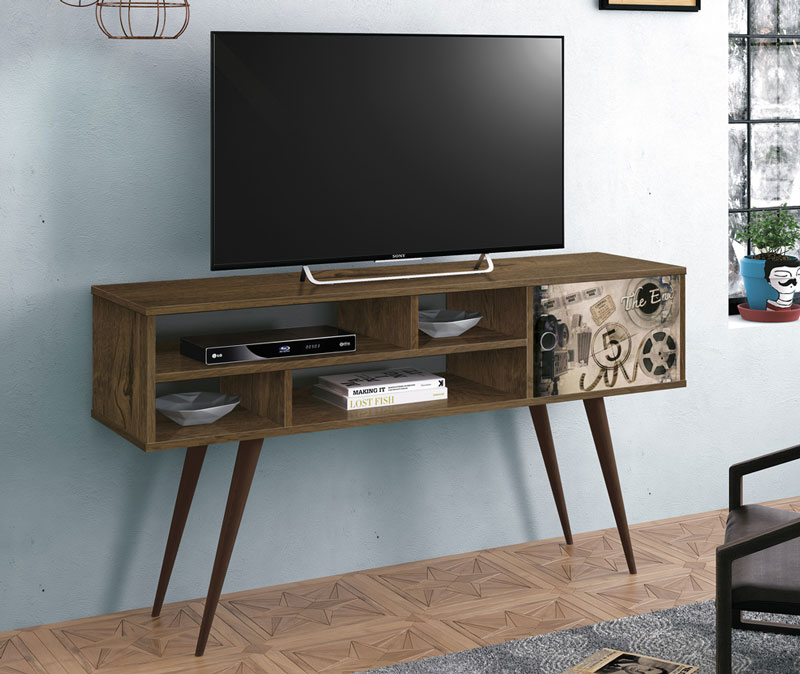 Rack para Tv Kenzo Nogal Rustico com Cinema - Edn Moveis