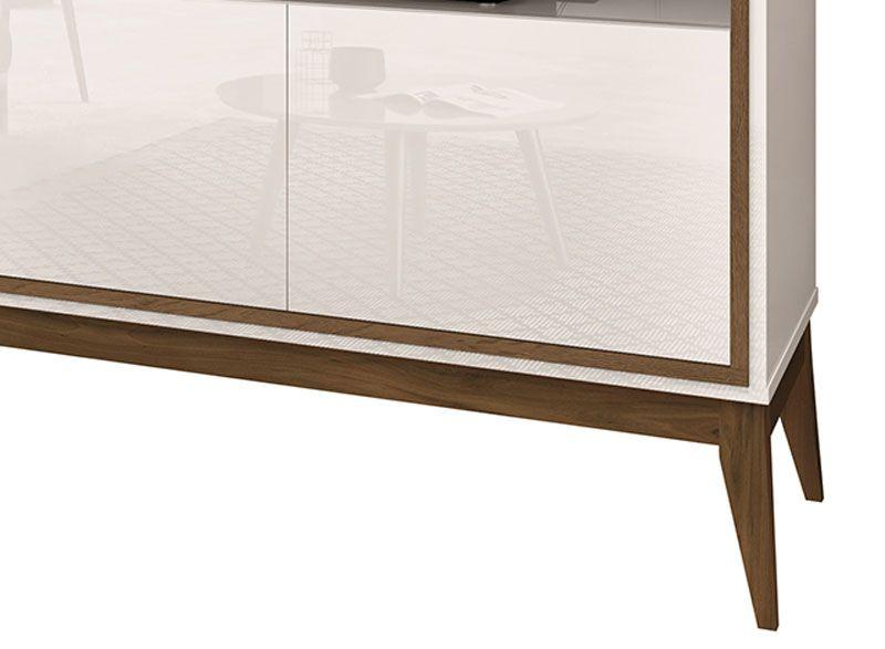 Rack para TV Merlot 1.35 Off White com Naturale - EDN Móveis