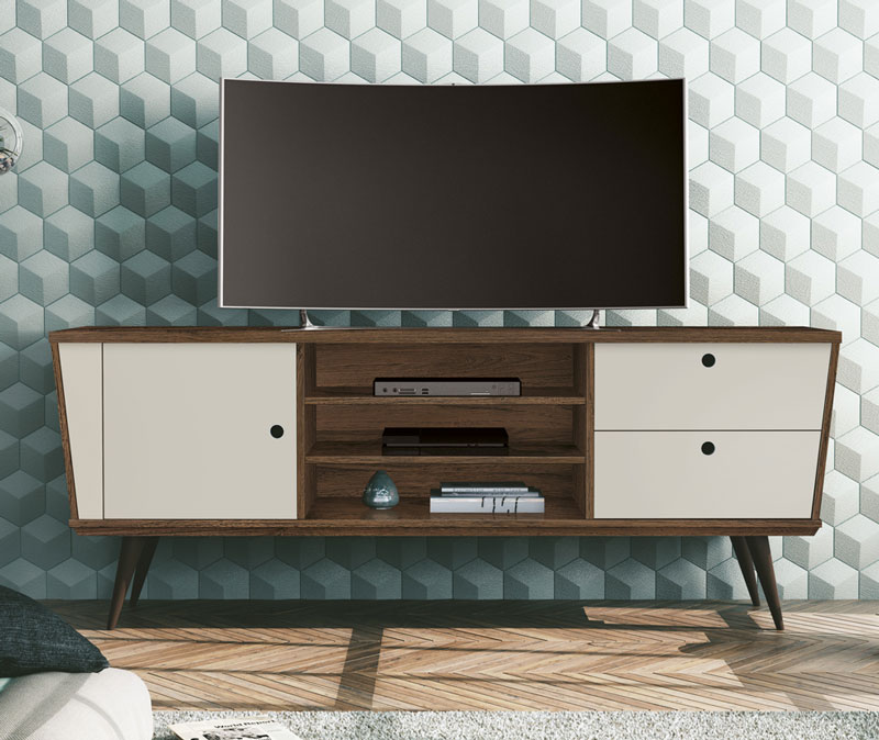 Rack para Tv Polo Rovere Italiano com Off White - Edn Moveis