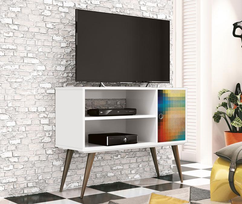 Rack para TV Reale Branco Silk - Edn Móveis
