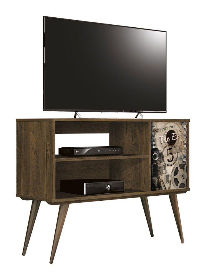 Rack para TV Reale Nogal Rustico com Cinema - Edn Móveis