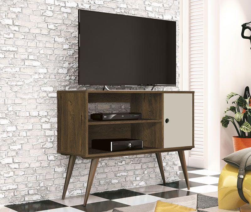 Rack para TV Reale Nogal Rustico com Off White - Edn Móveis