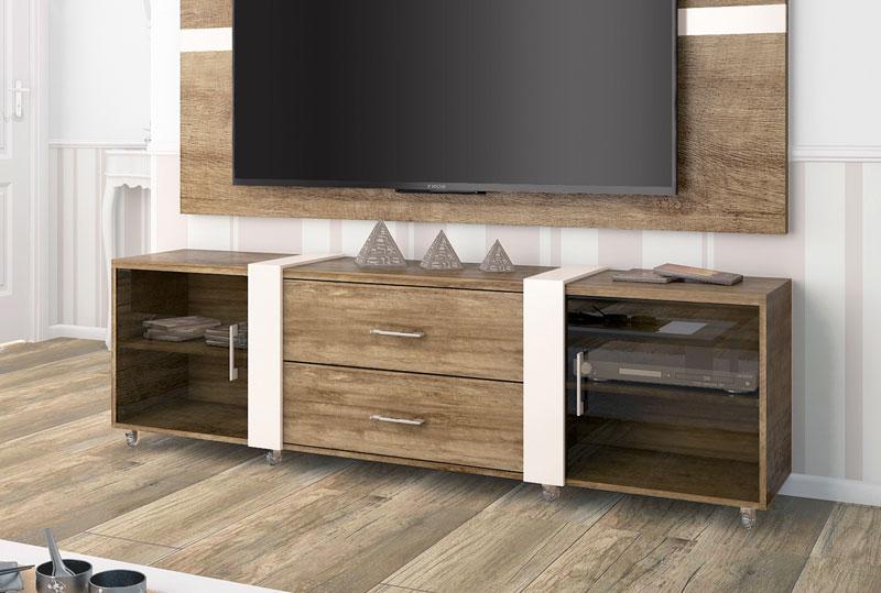 Rack para TV Refletto Madeira com Off White - Imcal  - MoveisAqui - Loja de móveis online!