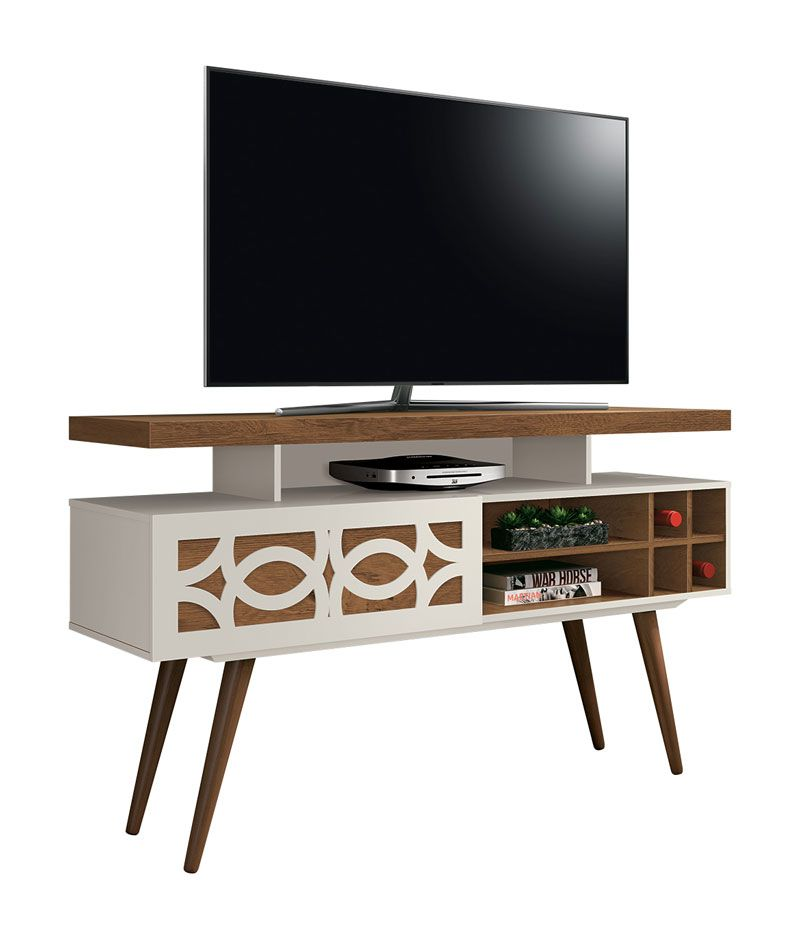 Rack para TV Retrô Requinte Off White com Naturale - EDN Móveis