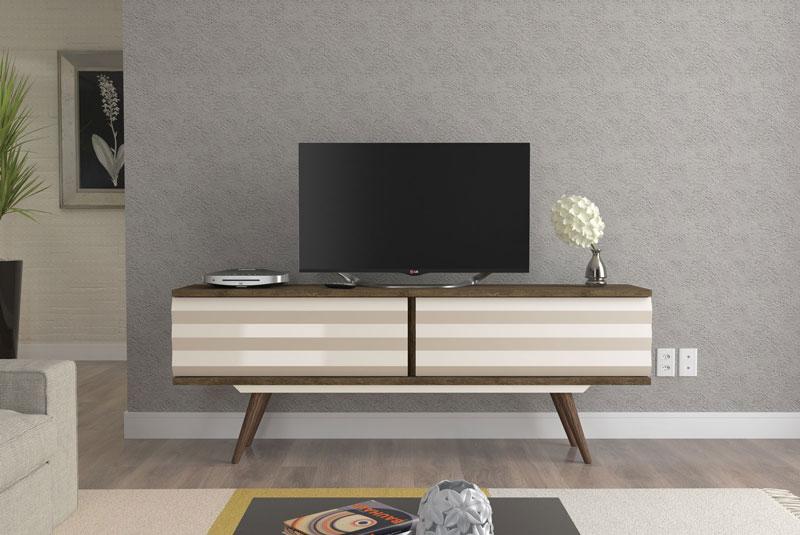 Rack para TV San Diego Imbuia com Off White - Rv Móveis