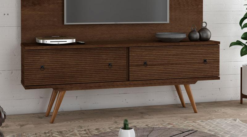 Rack para TV Titanium Castanho - RV Móveis