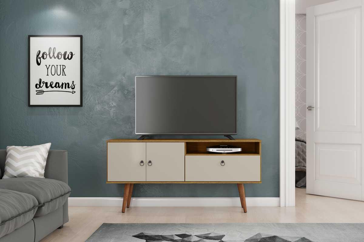 Rack para TV Topázio Cumarú com Off White - Patrimar Móveis