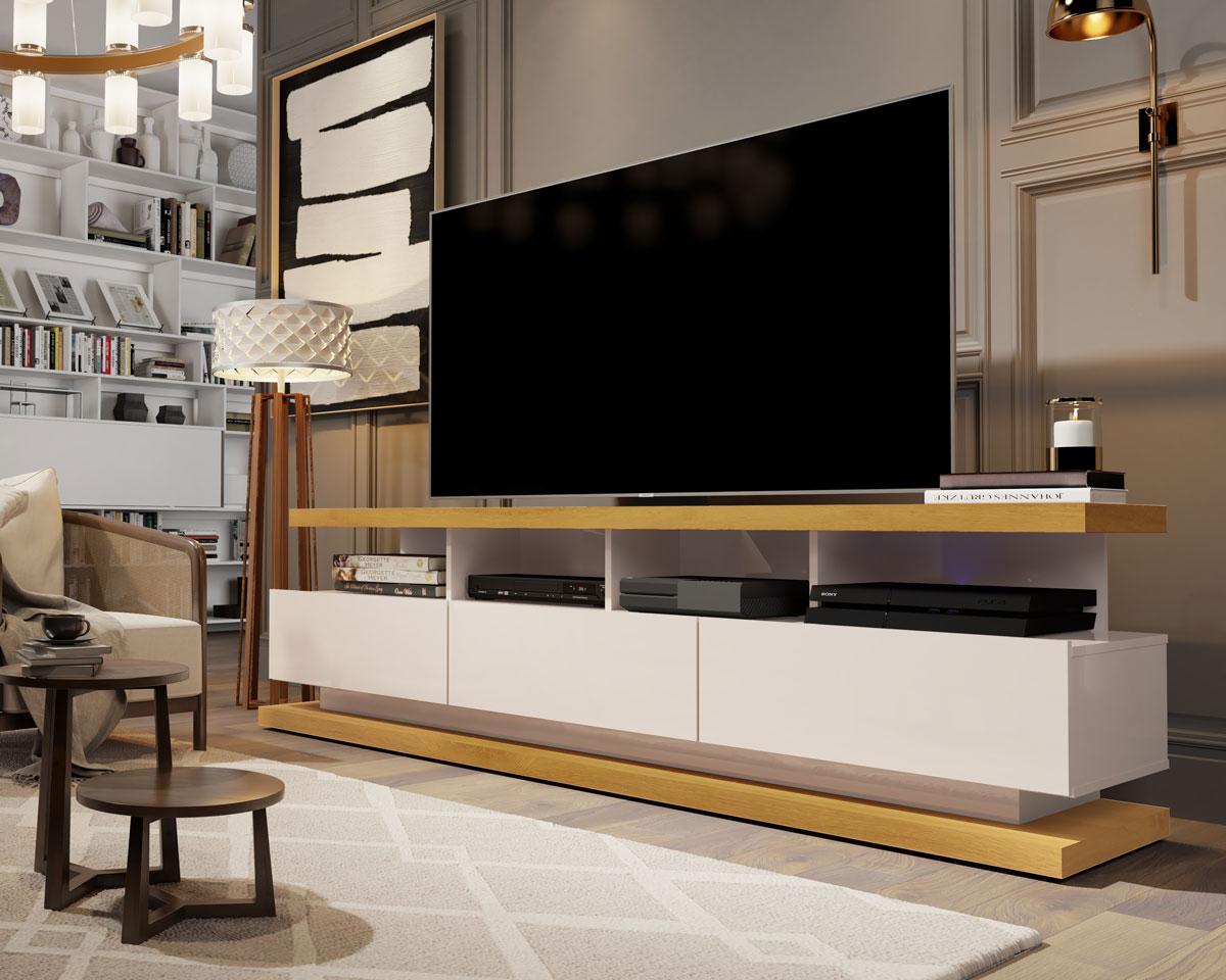 Rack para TV Vivare Off White com Nature - Germai Móveis