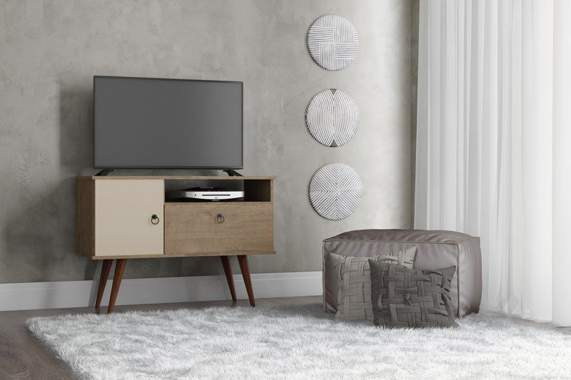 Rack para TV Yan Demolição com Off White - Patrimar Móveis