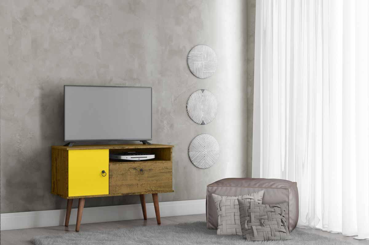 Rack para TV Yan Nature com Amarelo - Patrimar Móveis