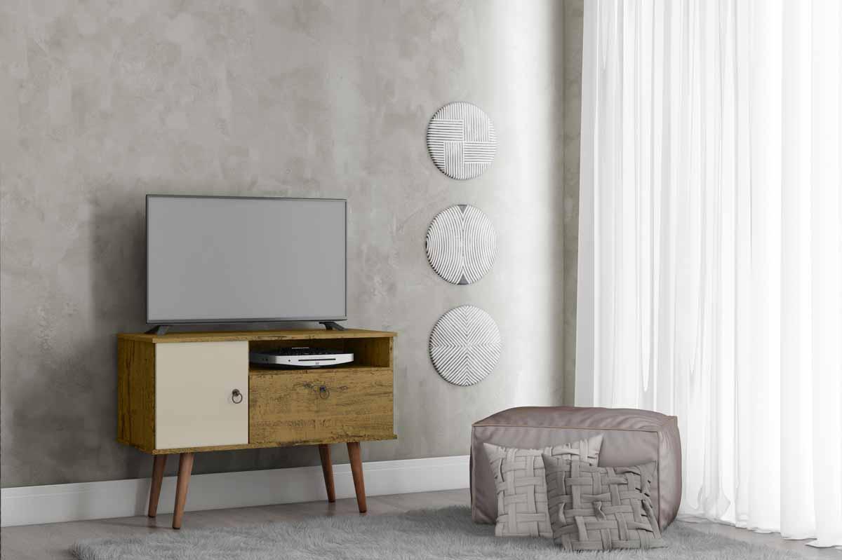 Rack para TV Yan Nature com Off White - Patrimar Móveis