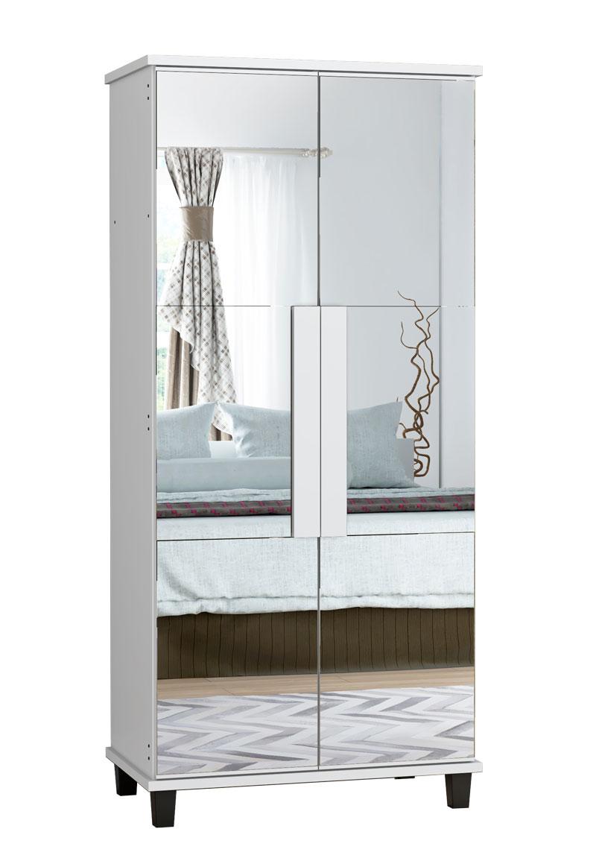 Sapateira com Espelho Requinte Branca - RV Moveis