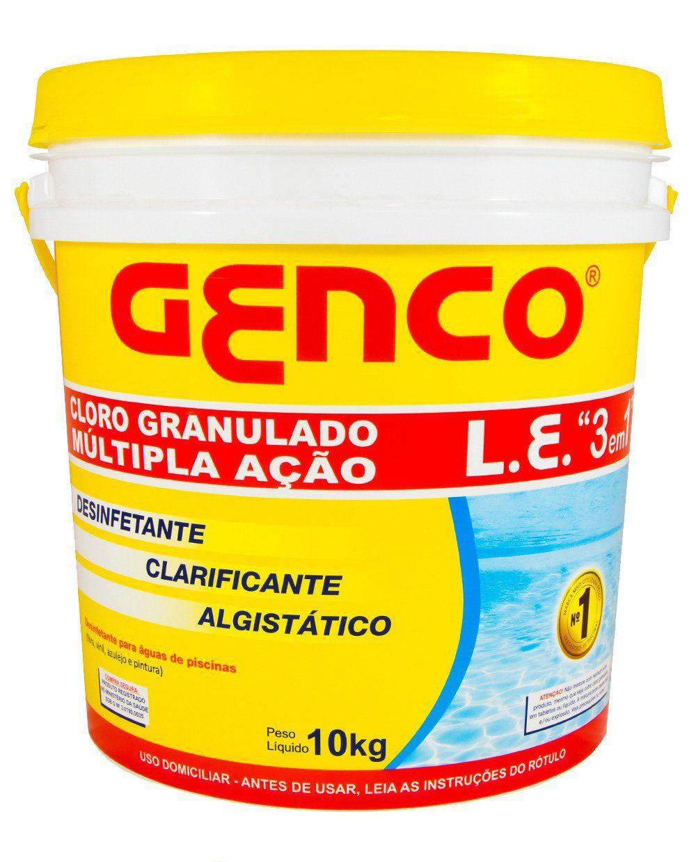 Cloro Multipla Ação 3 Em 1 Granulado 10kg Genco L.E.