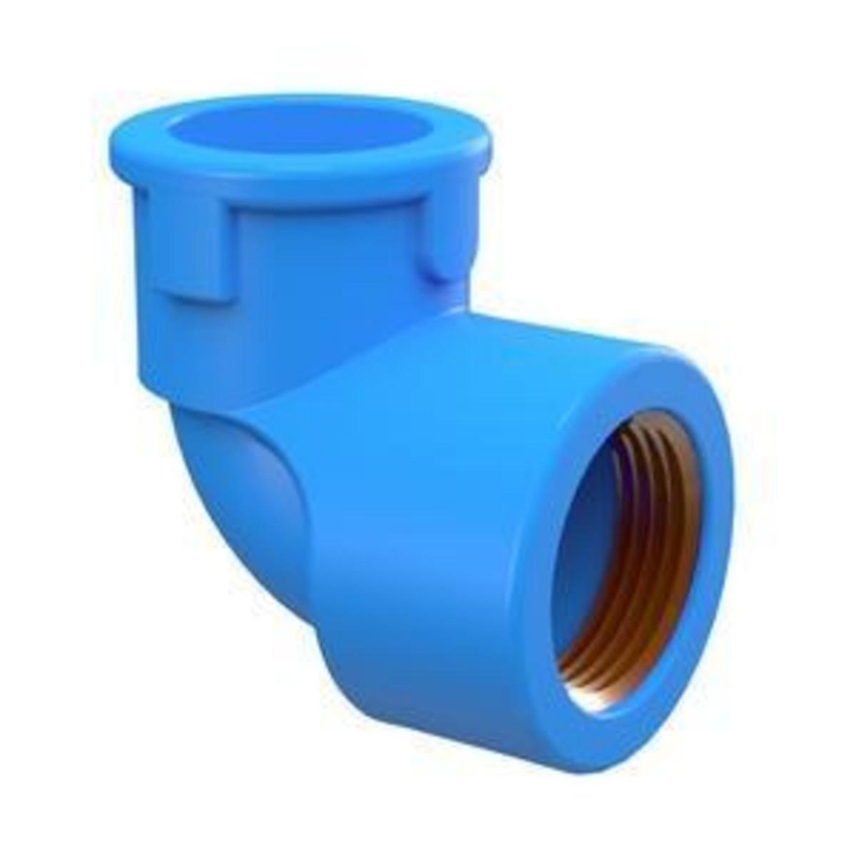 Solda Azul Joelho 90° Com Bucha de Latão 20mmx1/2  Tigre