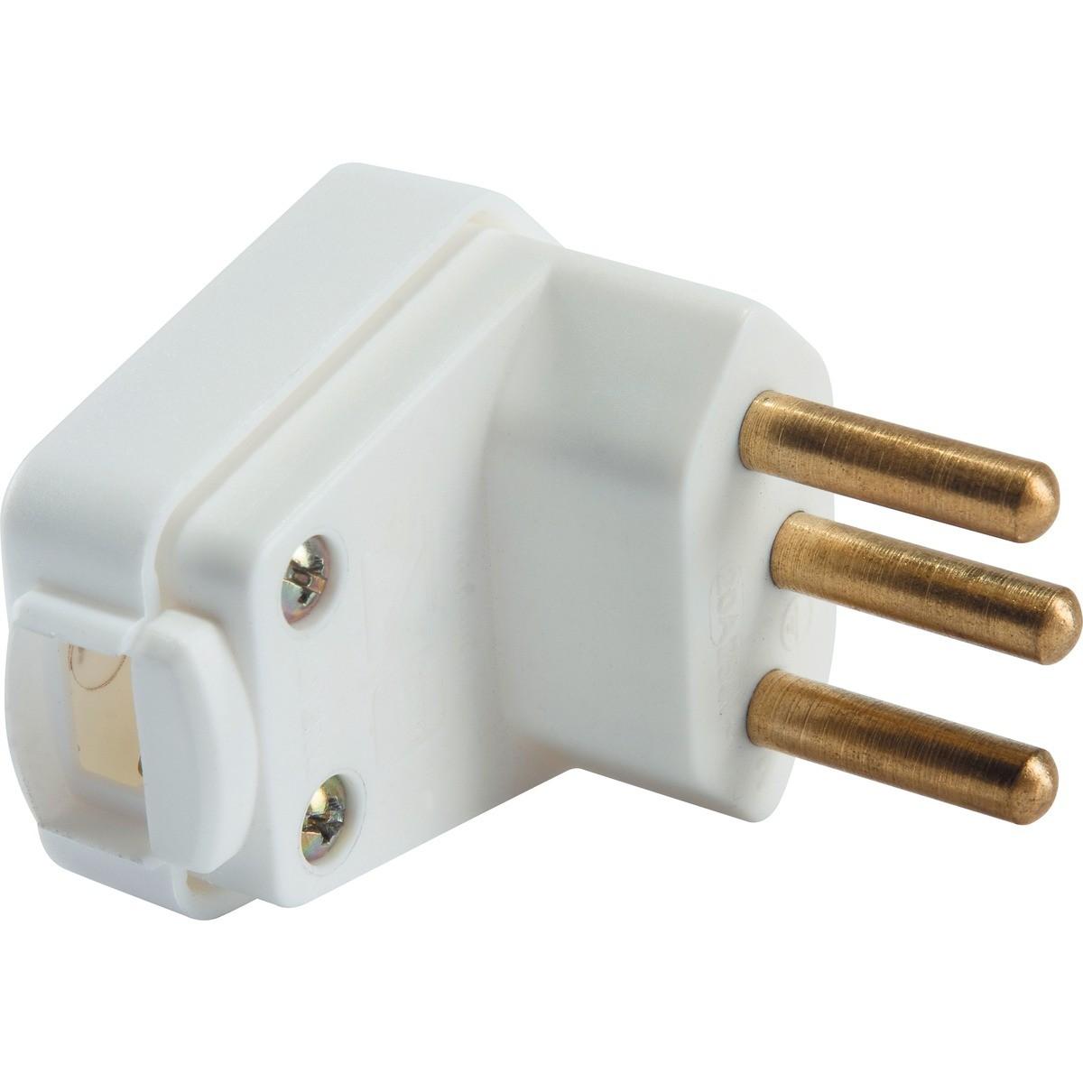 Elétrica Plugue Angular 3P 10A 250V  Branco