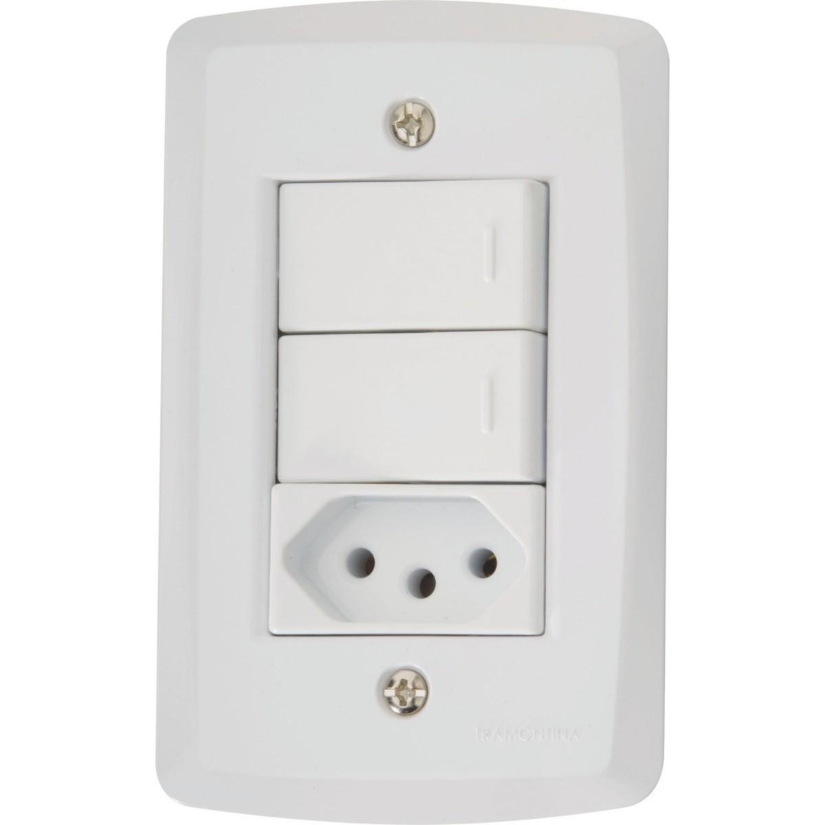 Ilum Conjunto 2 Interruptores Simples+Tom 2P+T 10A 250V Tramontina
