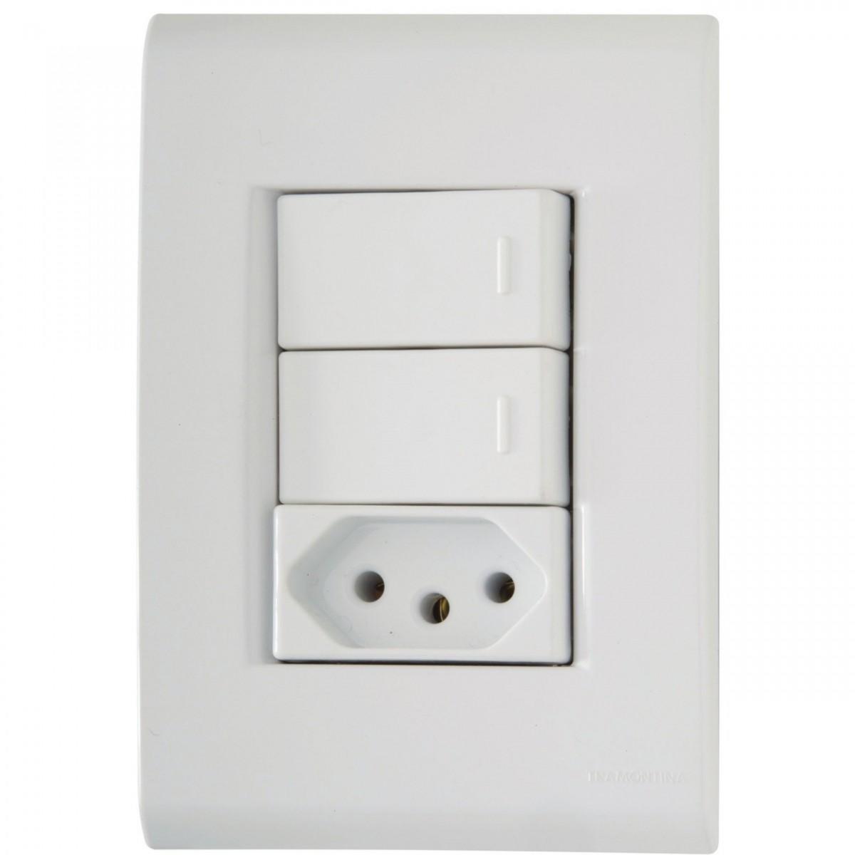 Ilum Conjunto 2 Interruptores Simples+Tom 2PT 10A 250V Tramontina