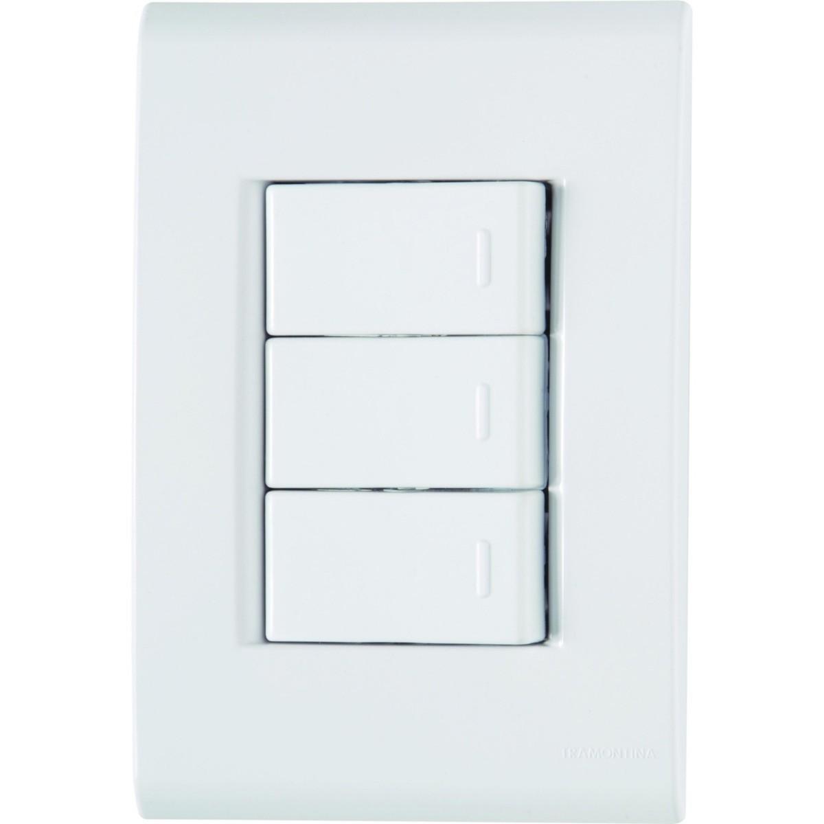 Ilum Conjunto 3 Interruptores Simples 10A 250V Tramontina
