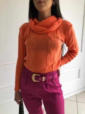 Blusa Gola Alta Tricô Trabalhada - Julia