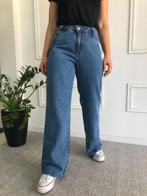 Calça Jeans Wide Leg Com Barra