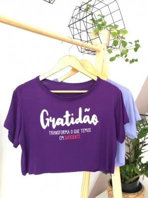 Camiseta Cropped Viscolycra - Gratidão