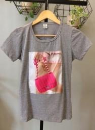 Camiseta Feminina Manga Curta Algodão Bolsa - Carol
