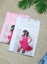 Camiseta Feminina Manga Curta Algodão Dress - Carol