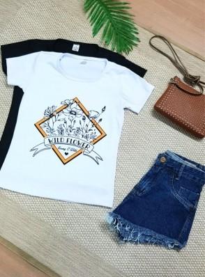 Camiseta Feminina Manga Curta Algodão - Natália