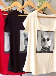 Camiseta Feminina Manga Curta Viscolycra  Plus Size - Cat