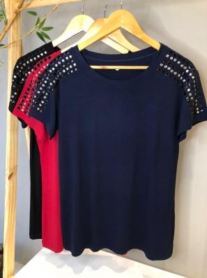 Camiseta Viscolycra Plus Size Aplicação - Rebeca