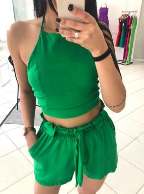 Conjunto Shorts Cropped Viscolinho - Sara