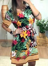 Vestido Curto Poliamida - Floral
