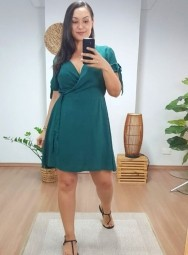 Vestido Curto Viscolinho Plus Size - Letícia