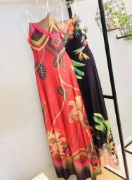 Vestido Longo Poliamida Estampado com Alça de Corda - Eva