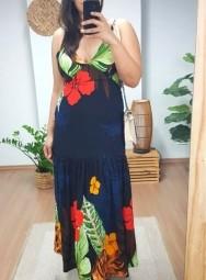 Vestido Longo Viscolinho Estampado - Paola