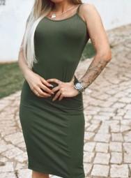 Vestido Midi de Alça Malha  Canelado - Livia