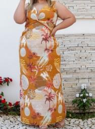 Vestido Plus Size Longo Viscolycra  Estampado - Aline