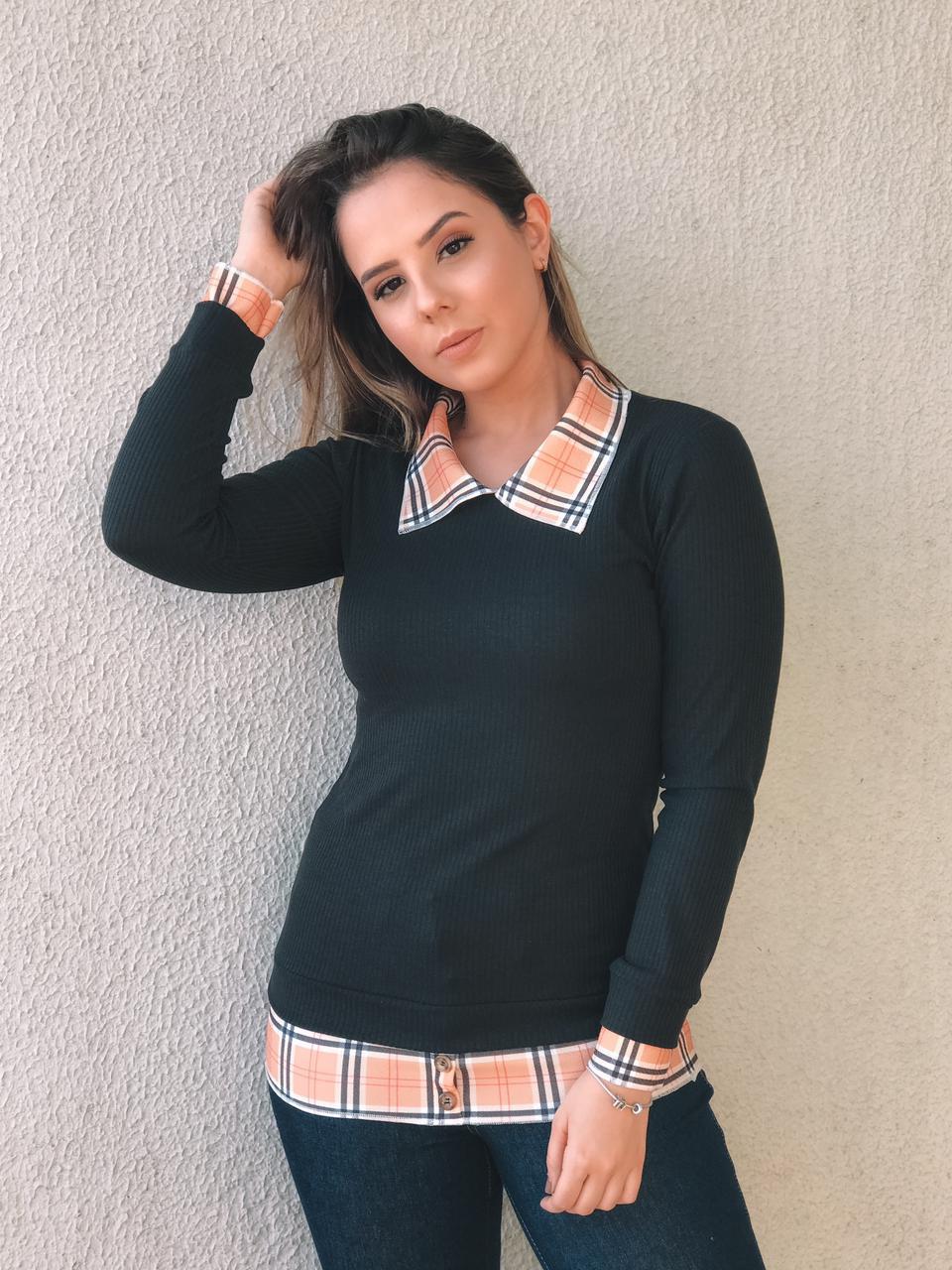 Blusa Canelada Xadrez - Michele