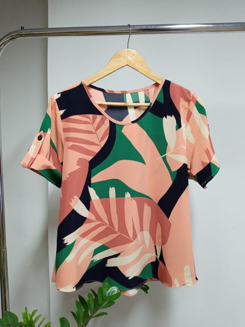 Blusa Manga Curta Crepe - Verônica