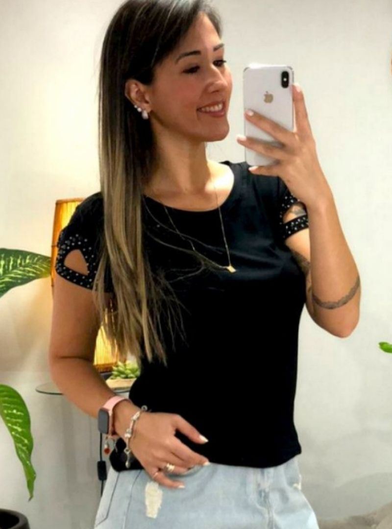 Blusa Manga Curta Strass Viscolycra - Lorena
