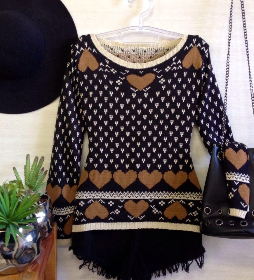TemNaMiss blusa manga longa tricot coracao carla preta 275635fe080