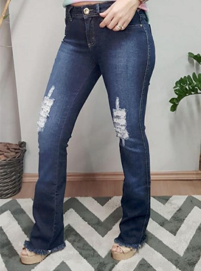 Calça Jeans Flare Destroyd - Betina