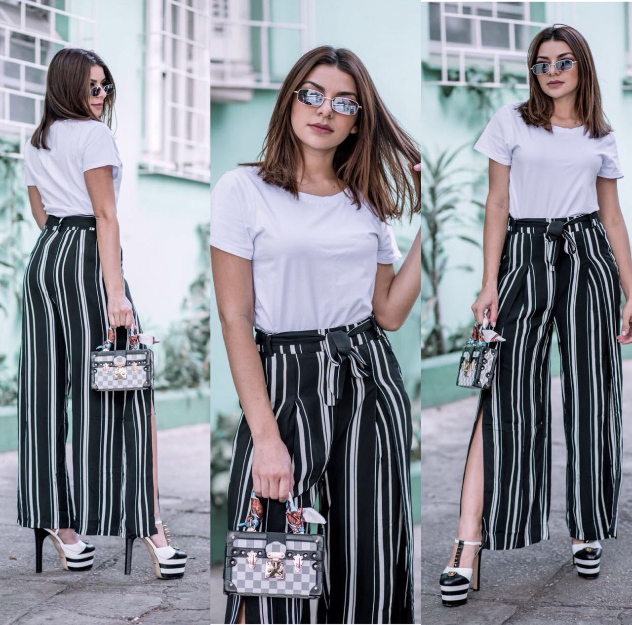 Calça Pantalona Viscose Listrada - Soraia Preta b7670df511c