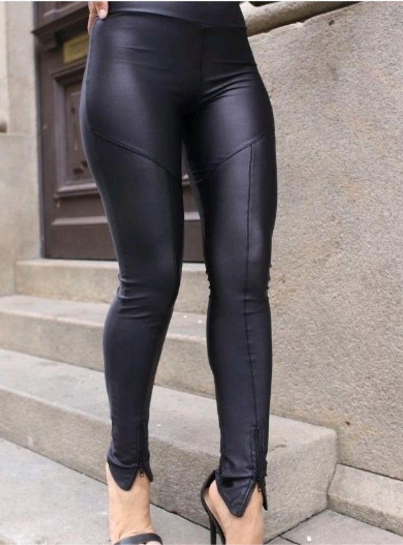 Calça Skinny Cirrê Zíper - Francine