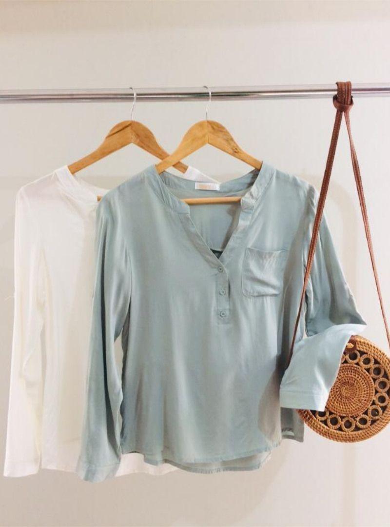Camisa Manga Longa Viscose Bolsinho - Lorena