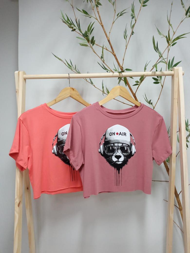 Camiseta Cropped Manga Curta Viscolycra - Nay