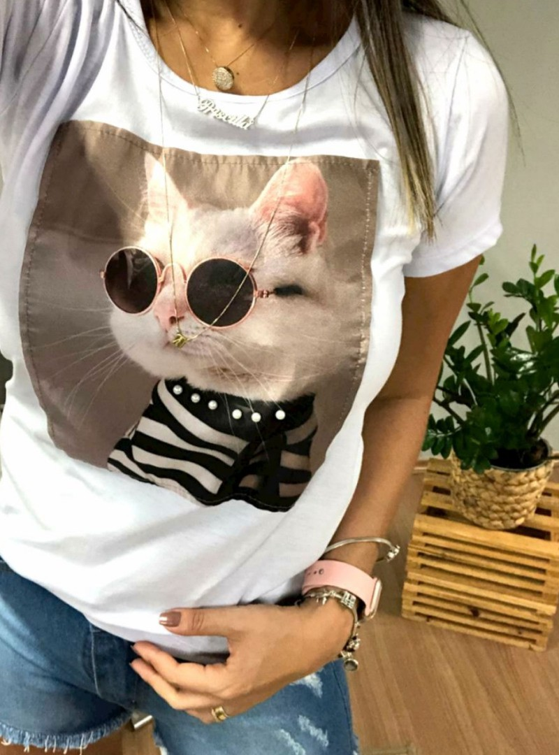 Camiseta Feminina Manga Curta Algodão - Cat