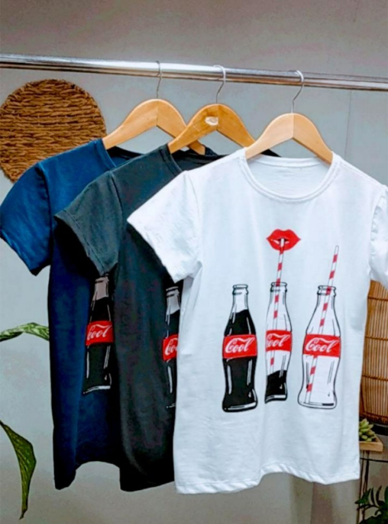 Camiseta Feminina Manga Curta Algodão - Cool